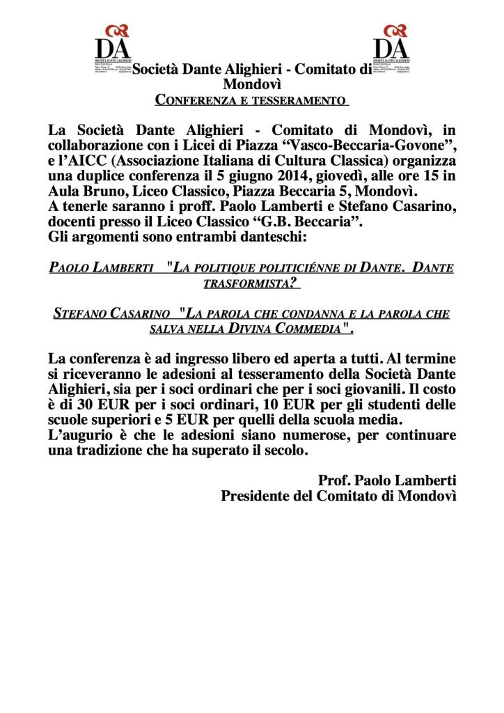 Conferenze Dante 5gn14 manifesto