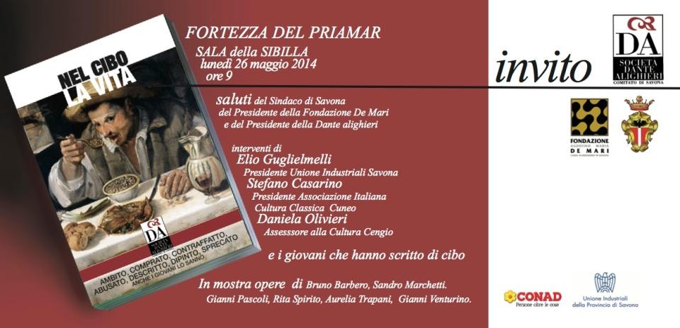 invito presentazione volume cibo Sala della Sibilla Savona 26.05.2014